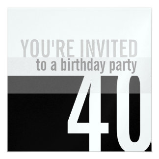 40th Birthday Party Invitations Silver