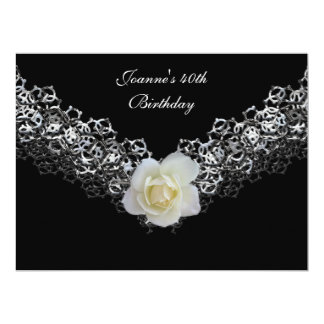 40th Birthday Party Lace Black Silver White Rose 6.5x8.75 Paper Invitation Card