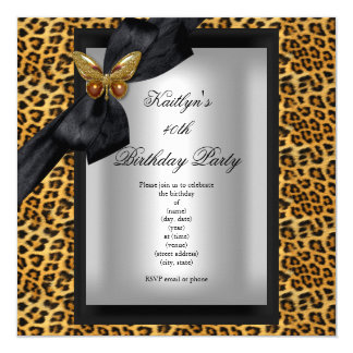 40th Birthday Party Leopard Black Butterfly 13 Cm X 13 Cm Square Invitation Card