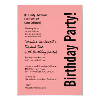 40th Birthday Party Pink and Black Budget V101E Invites