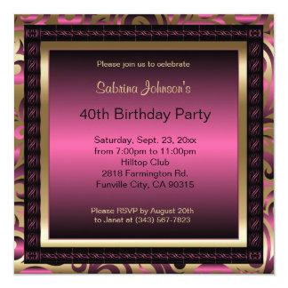 40th Birthday Party | Pink Metallic & Gold 13 Cm X 13 Cm Square Invitation Card