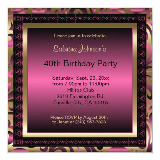 40th Birthday Party | Pink Metallic & Gold Card