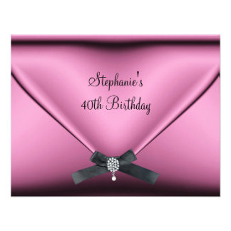 40th Birthday Party Pink Silk Diamond Jewel Custom Invite