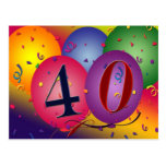40th birthday party postcard invites
