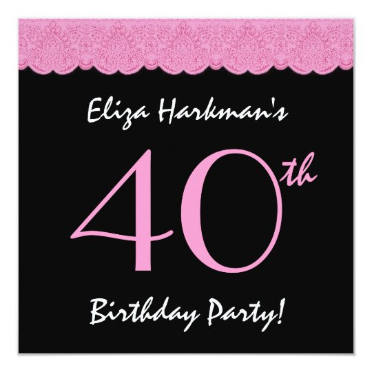 40th Birthday Party Pretty Lace Template Card