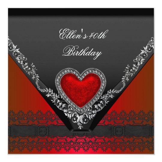 40th Birthday Party Red Heart Jewel Black White