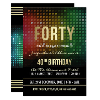 40th Birthday Party | Retro Disco Lights Card