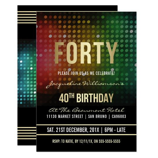 40th Birthday Party | Retro Disco Lights Card