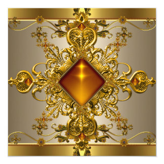 40th Birthday Party Rich Coffee Gold Amber Jewel 13 Cm X 13 Cm Square Invitation Card