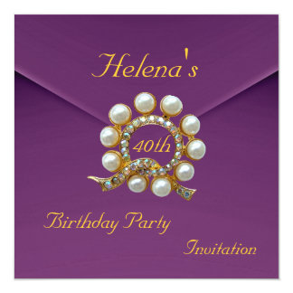 40th Birthday Party Rich Plum Velvet Image 13 Cm X 13 Cm Square Invitation Card