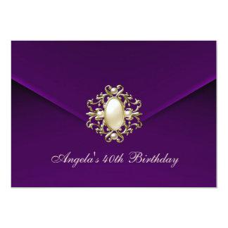 40th Birthday Party Royal Dark Plum Velvet Pearl 13 Cm X 18 Cm Invitation Card
