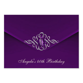 40th Birthday Party Royal Silver Plum Velvet Pearl 13 Cm X 18 Cm Invitation Card