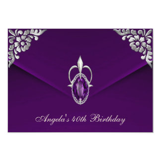 40th Birthday Party Royal Silver Plum Velvet Pearl Card