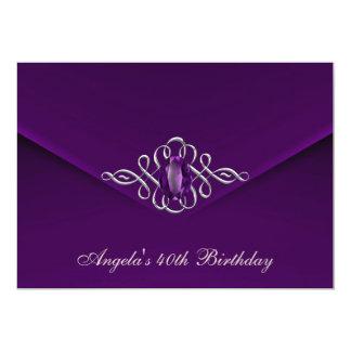 40th Birthday Party Royal Silver Plum Velvet Pearl 13 Cm X 18 Cm Invitation Card