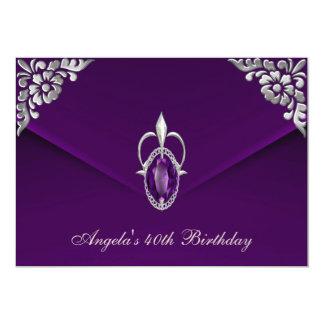 40th Birthday Party Royal Silver Plum Velvet Pearl Custom Announcement