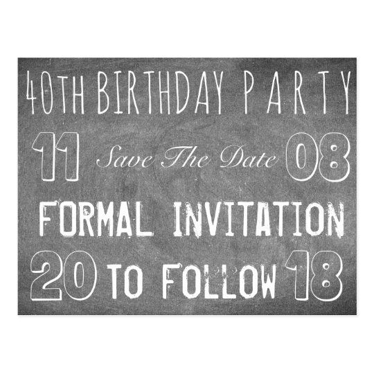 40th Birthday Party Save The Date Chalkboard Postcard