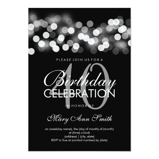 40th Birthday Party Silver Hollywood Glam Card