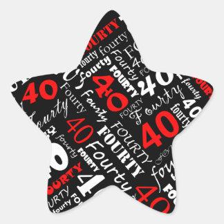 40th Birthday Party Sticker Star Sticker