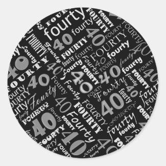 40th Birthday Party Sticker Round Sticker
