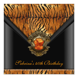 40th Birthday Party Tiger Black Orange Stripe 13 Cm X 13 Cm Square Invitation Card