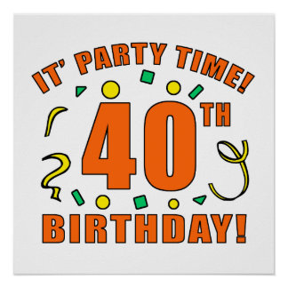 40th Birthday Party Time Poster
