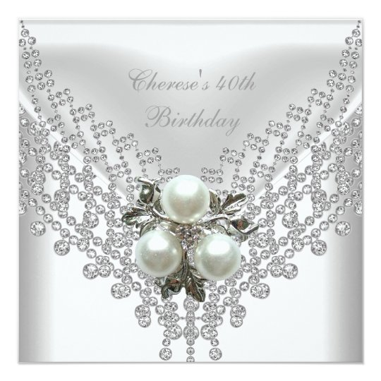 40th Birthday Party White Pearl Diamond Jewel Card