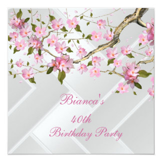 40th Birthday Party White Pink Blossoms floral 2 13 Cm X 13 Cm Square Invitation Card