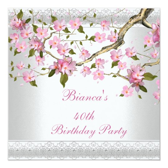 40th Birthday Party White Pink Blossoms floral Card