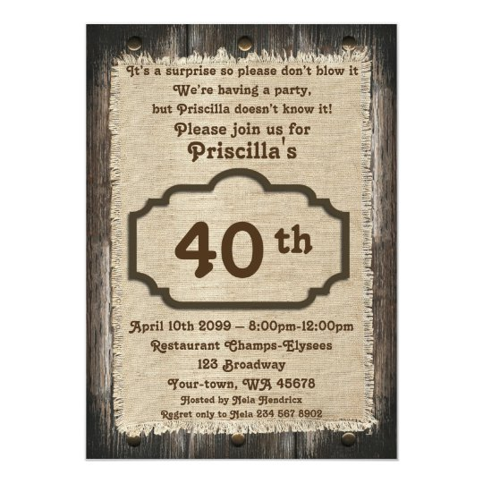 40th,Birthday Party Woman, any age,wood,rustic Card