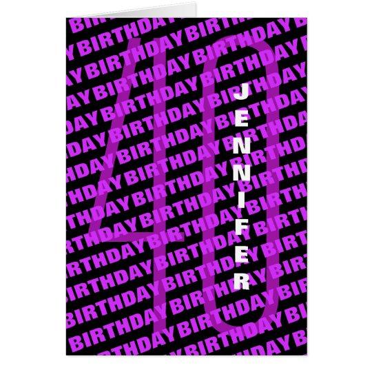 40th Birthday Personalised Purple Card