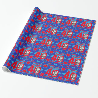 40th Birthday photo fun blue red gift wrap Wrapping Paper