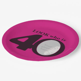 40th birthday photo look dark pink paper plate 9 inch paper plate