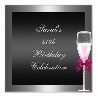 40th Birthday Pink Champagne Silver Black 13 Cm X 13 Cm Square Invitation Card