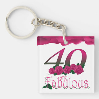 40th Birthday pink flower photo floral keychain
