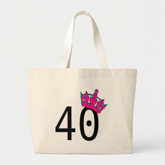 40TH Birthday Princess Large Tote Bag
