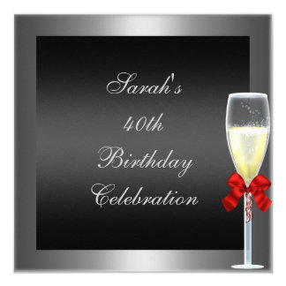 40th Birthday Red Bow Champagne Silver Black Card