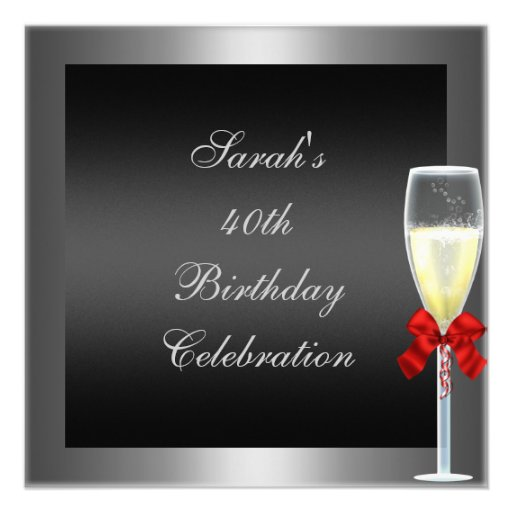 40th Birthday Red Bow Champagne Silver Black Personalized Invites