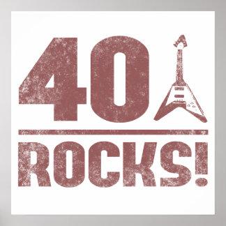 40th Birthday Rocks Poster