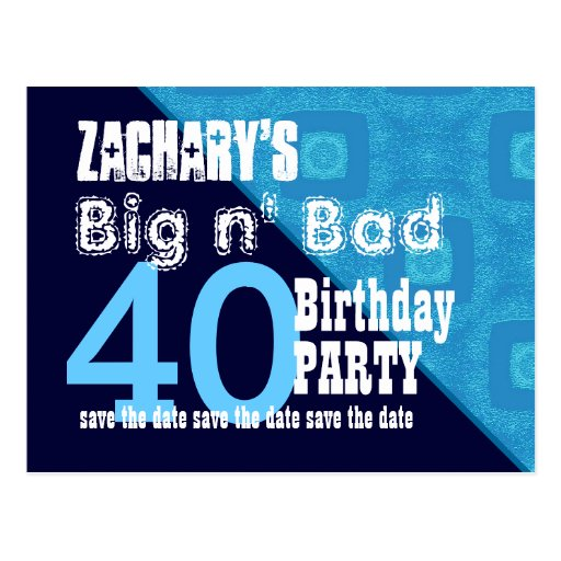 40th Birthday Save the Date Blue Diagonal V02A13 Post Card