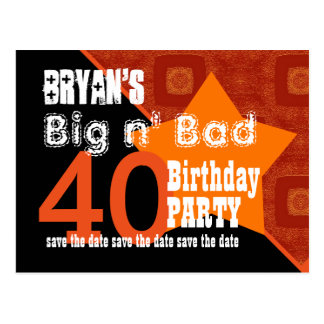 40th Birthday Save the Date Orange Diagonal A06 Postcard