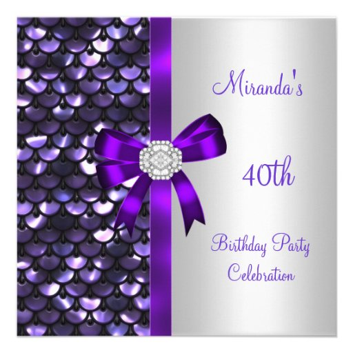 40th Birthday Silver Sequins Purple Diamond Bow Personalized Invitation