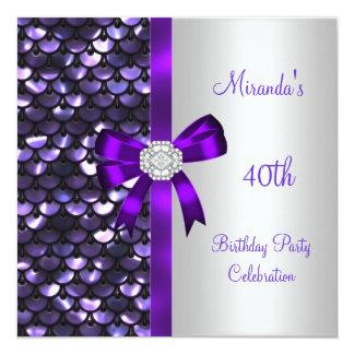 40th Birthday Silver Sequins Purple Diamond Bow Personalized Invitation