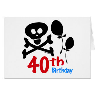 40th Birthday Skull Crossbones Card