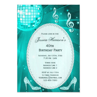 40th Birthday Sparkle Heels and Teal Disco Ball Magnetic Invitations