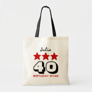 40th Birthday Star Red Black and White Z510 Tote Bag
