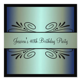 40th Birthday Steel Blue Green Black Floral Party 13 Cm X 13 Cm Square Invitation Card