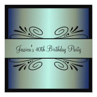 40th Birthday Steel Blue Green Black Floral Party 13 Cm X 13 Cm Square Invitation Card