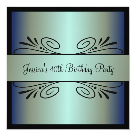 40th Birthday Steel Blue Green Black Floral Party