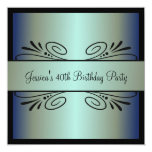 "40th Birthday Steel Blue Green Black Floral Party 5.25"" Square Invitation Card"