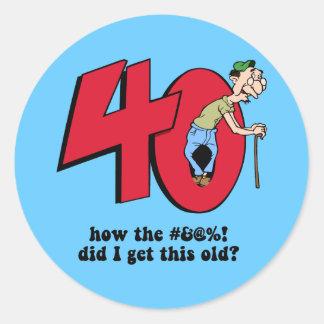 40th birthday round sticker